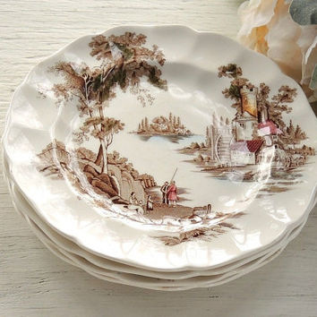 Johnson Brothers The Old Mill Bread and Butter Plates Set of 4 Brown Multicolor English China, Plates for Weddings, Romantic Farmhouse