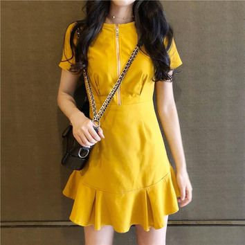 Sexy o neck ruffle mini dress women a line yellow mermaid dress 2018 Summer dress bodycon party vestido short sleeve