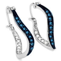 0.48 Carat Genuine White Diamond & Blue Diamond .925 Sterling Silver Earrings