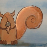 Silly Squirrel Painting Ice Cream Cone Childrens Art by andralynn