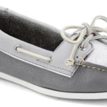 Sperry Top-Sider Audrey Slip-On Tri-Tone Boat Shoe Charcoal/Gray/Silver, Size 7M  Women's Shoes