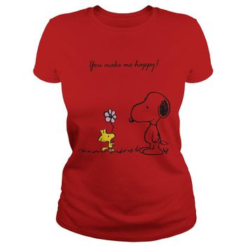 Snoopy and Woodstock you make me happy shirt Ladies Tee