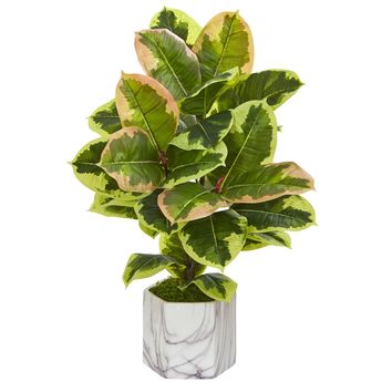 Artificial Plant -Rubber Leaf Plant in Marble Finished Vase-Real Touch
