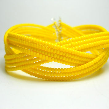 Cuff Bracelet - Braided Bright Yellow Beaded Bracelet