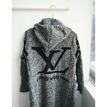 LV Louis Vuitton Trending Women Stylish Long Sleeve Hooded Grey Sweater Knit Cardigan Jacket Coat I/A
