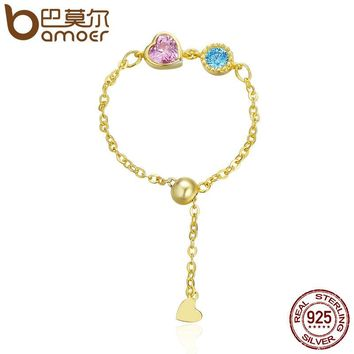 Genuine 925 Sterling Silver & Gold Color Heart Crystal Chain Rope Finger Rings Women Authentic Silver Jewelry Anel SCR090