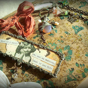 """Long Boho """"Charm"""" Necklace """"Oh but my darling, what if you fly"""" (E.H.)"""" Mixed-Media OOAK"""