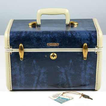 Vintage Samsonite Train Case, Admiral Blue, Small Suicase, Samsonite Luggage, Cosmetic Case, Blue Case, Vintage Suitcase, Samsonite Suitcase