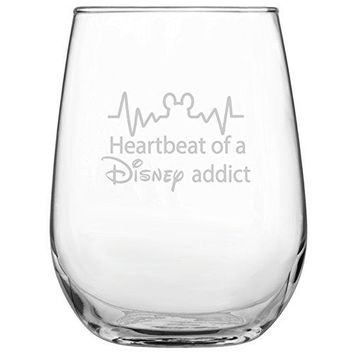 Heartbeat of a Disney Addict 17oz Stemless Wine Glass bull DisneyInspired Glass bull Mickey Mouse Fan bull Minnie Mouse Fan bull Birthday Present bull Gift for Friend