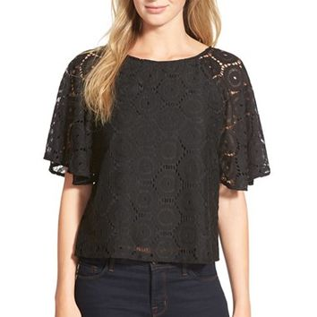 Women's CeCe by Cynthia Steffe Flutter Sleeve Circle Lace Blouse,