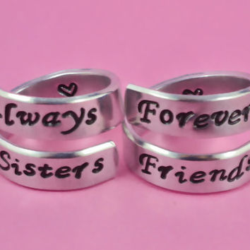 always sisters / forever friends- Spiral Rings Set, Hand Stamped, Friendship, BFF Gift, Script Font Version