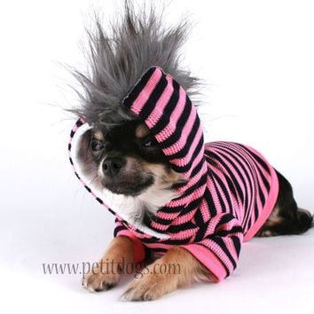 Dog Clothes Pink and black stripe Mohawk Hoodie sz M