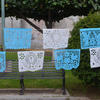 Papel picado garland 10 banners for Wedding, Baptism or First Communion, Mexican tissue paper party decoration