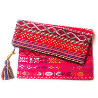 Woven fabric Fushia Red HIPPIE FOLDOVER CLUTCH bag, tribal pattern, colourful Banjara clutch, ethnic boho, Indian bag