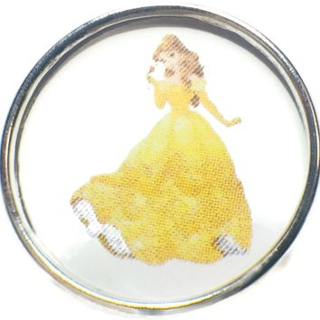 Disney Belle From Beauty And The Beast 18MM - 20MM Fashion Snap Jewelry Snap Charm New Item
