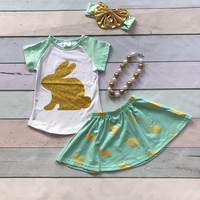 new arrival baby girls gold bunny clothing with bunny skirts children Easter party outfits top with mint bunny skirts with acces