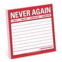 Knock Knock Never Again Sticky Notes - Official Shop