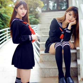 Japanese sailor suit Anime cosplay costume ,Girls High school student uniform ,Long-sleeve JK uniform sexy clothing