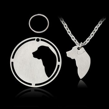 2 pcs/set Silhouette Labrador Retriever Dog tag Pendant Necklace For Dog Owner Lover Friendship Silver Pet Animal Jewelry