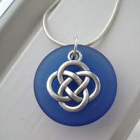 Celtic Knot Jewelry - Irish Jewelry - Sea Glass Jewelry - St Patrick's Day Jewelry - Blue Sea glass Necklace - St Patricks Day Necklace