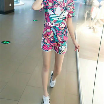 """Adidas"" Fashion Casual Banana Letter Print Short Sleeve Set Two-Piece Sportswear"