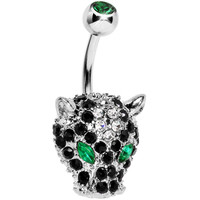 Green Black Gem Panther Head Belly Ring | Body Candy Body Jewelry