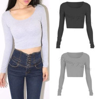 Fashion Womens Ladies Long Sleeve Crop Top Round Neck T Shirt Blouse 3Colors