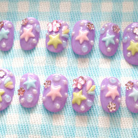 Fairy kei, pastel nail, shooting star, star nail, 3D nails, kawaii nails, Japanese fashion, Japanese nail, nails