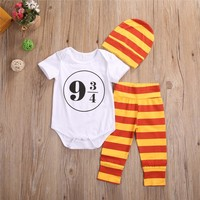 Hot sales Cute 3pcs Toddler Infant Baby Boy Girl Clothes Harry Potter Short Sleeve Romper Pants+Hat Outfits Baby Clothing Set