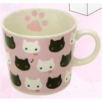 San-X Kutusita Nyanko Mug: White Kitty Friend Pink