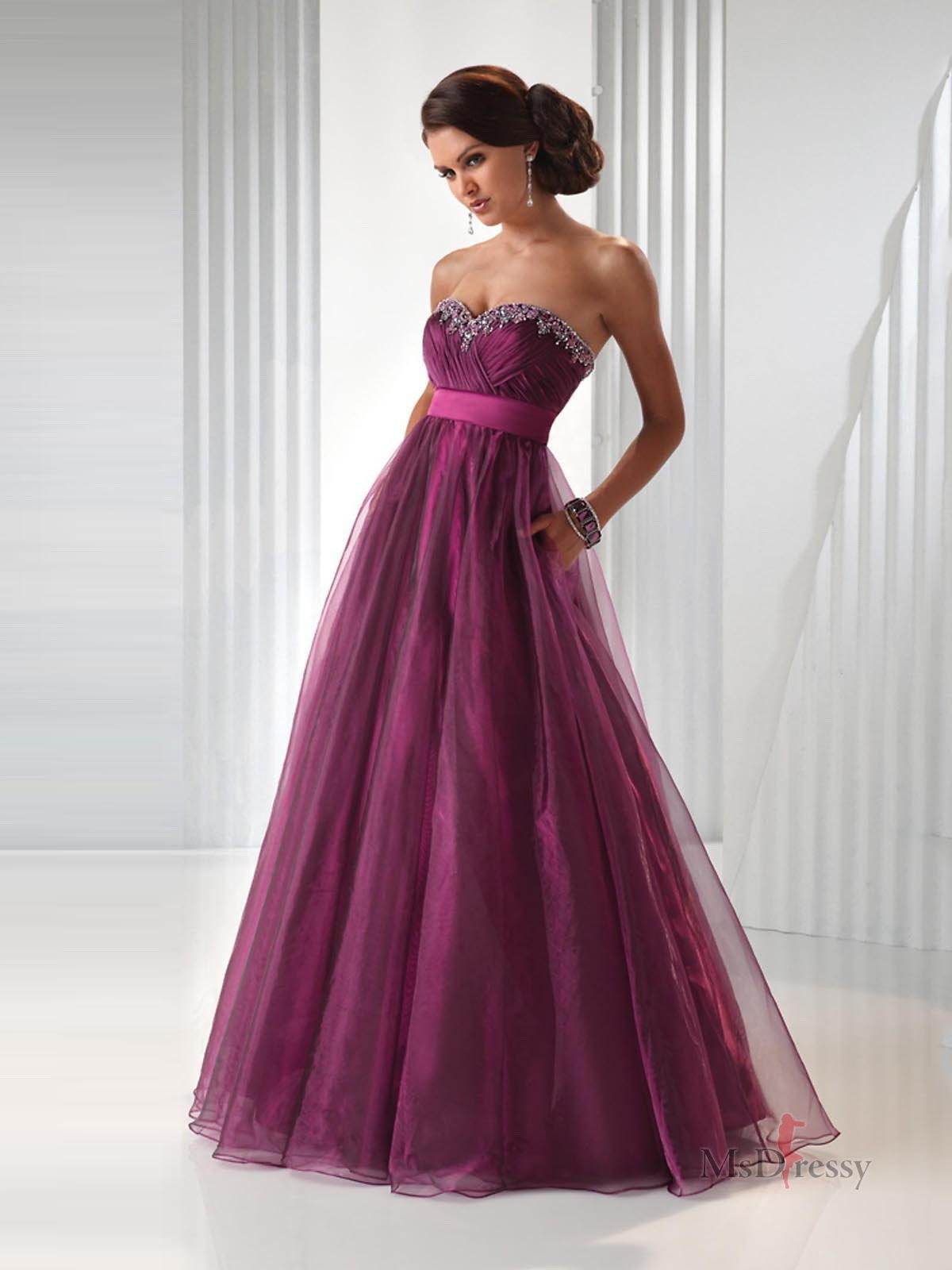 Empire Sweetheart Floor-length Tulle Popular Prom Dress with Beading at Msdressy