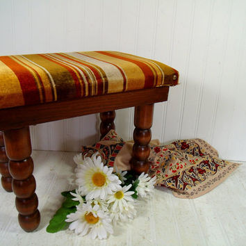 Mid Century Crushed Velvet Multicolor Upholstered Wooden Ottoman - Vintage Heavy Duty Seventies Era Foot Stool, Retro Rectangular Wood Bench