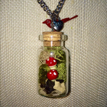 Terrarium Necklace, Terrarium Jewelry, Mushroom Necklace, Mushroom Jewelry, Miniature Terrarium, Bird Necklace, Nature Jewelry, Moss Jewelry