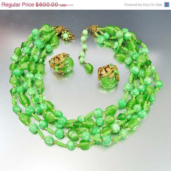 2 DAYS ONLY Signed Miriam Haskell Necklace Miriam Haskell Jewelry Earrings Green Art Glass Beads Rhinestone