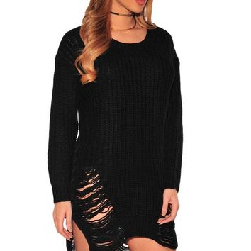 Black Ripped Knit Long Sleeves Sweater