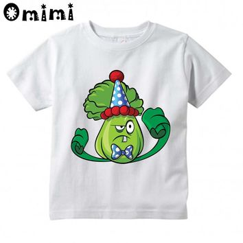 Kids Plants vs Zombies GW Garden Warfare Printed Design Tops Boys/Girls Game Casual T Shirt Children T-Shirt, HKP3037