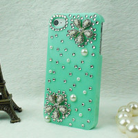 Rhinestone flower iphone 4 case , iphone 4G case, iphone  4S case,  green DIY iphone 4 case