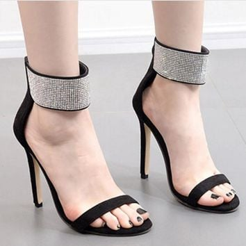 Rhinestone Women Fashion Ankle Strap Sandals High Heels Shoes