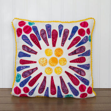 """Decorative Throw Pillow- 12""""x12"""" Flower Pillow with Colorful Applique"""