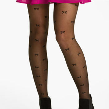 Frenchi® Bow Print Sheer Tights (Juniors) | Nordstrom
