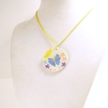 Blue Butterfly Clay Pendant Necklace, Fun Jewelry, Art Necklace, Affordable Artisan Handmade Polymer Clay Jewelry