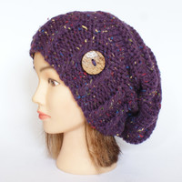 Tweed purple hand knit slouchy beanie hat