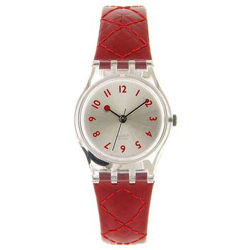 Swatch LK243 Women's Strawberry Jam Silver Dial Red Leather Strap Watch