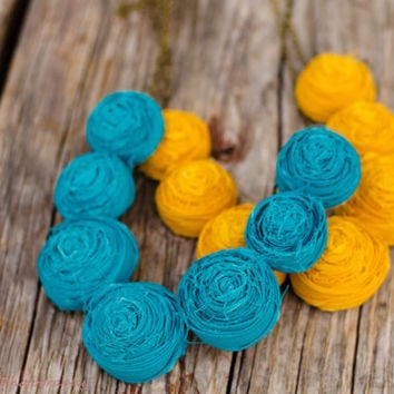 Mustard, plum or Teal fabric rosette bridesmaid necklace that will make a beautiful statement