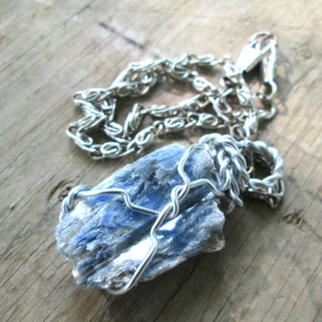 Blue Stone Necklace - Kyanite Stone Necklace - Boho jewelry - Rough Cut Stone - Gemstone Necklace - Spiritual Jewelry - Semi-precious stone