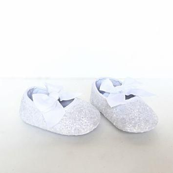 white glitter baby shoes flower girl shoes  number 1