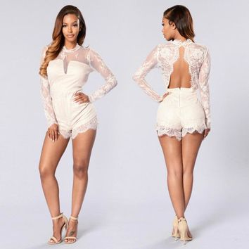 Women Fashion Solid Color Backless Hollow Perspective Lace Long Sleeve Shorts Romper Jumpsuit