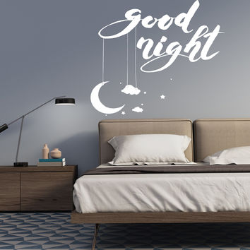 Wall Vinyl Decal Romantic Home Interior Bedroom Decor World Good Night Unique Gift z4535