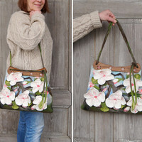 Unique felted bag with 3D sakura flowers with wooden handcrafted handles. OOAK