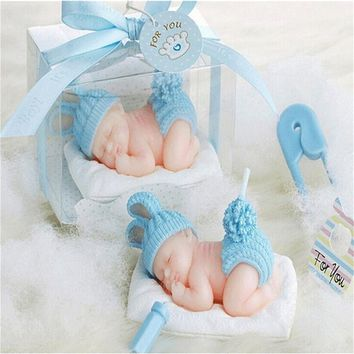 Blue Color Baby Dress Full Moon Cake for Flame less Candles